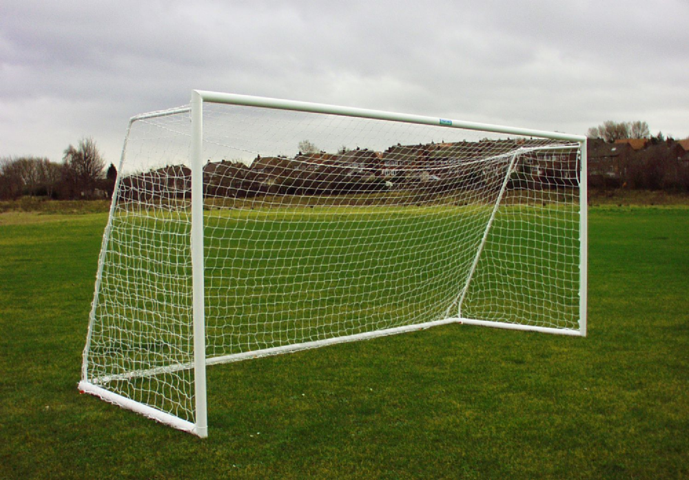 FOLDING GOAL - 80 MM ROUND ALUMINIUM  - WITH REAR GROUND FRAME - 16 x 7